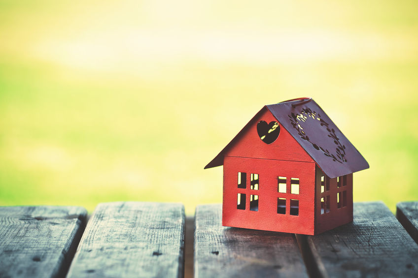 46649741 - red model of house as symbol on sunny background