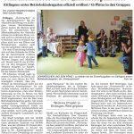 Zeitungsausschnitt über die Eröffnung der Kinderspinnerei